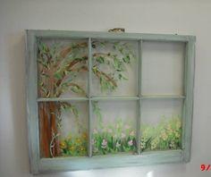Kuvatulokset haulle old windows handpainted Painted Window Panes, Window Pane Art, Old Window Decor, Old Window Frames, Window Ideas, Windows Decor, Window Film, Recycled Windows, Old Windows