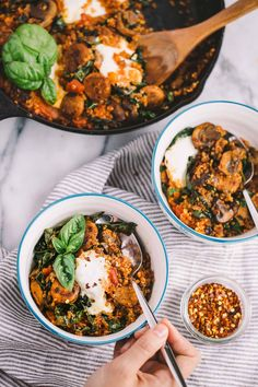 a 15-minute skillet dinner with quinoa, kale, trader joe's chicken sausage, & trader joe's arrabiatasauce. weeknight cooking could not be easier (or more delicious!) than this 15-minute trader joe's skillet! #playswellwithbutter #skilletdinner #easydinnerrecipe #traderjoes #traderjoesrecipe #skilletrecipe #healthydinnerrecipe
