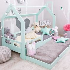 18 Ideas Baby Bedroom Montessori Bebe For 2019 Baby Bedroom, Baby Room Decor, Girls Bedroom, Bedroom Ideas, Toddler Floor Bed, Toddler Rooms, House Beds For Kids, Kid Beds, House Frame Bed