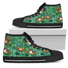 Tigers Playing Pattern Green Men's High Tops    Custom printed high tops. Amazing colors and print quality. Lightweight canvas construction for maximum comfort. High quality EVA sole for exceptional traction and durability. Made with love just for you. Show Off Your Wild Side Today! #hightops #tigergear #WildAnimalist Top Shoes, Men's Shoes, Mens High Tops, Green Man, Snug Fit, Tigers, High Top Sneakers, Just For You, Lace Up