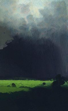"""""""After a Rain"""" by Arkhip Kuindzhi. Cloud cover is so difficult to paint convincingly but Russian artist Arkhip Kuindzhi really hits it just right. Landscape Art, Landscape Paintings, Russian Landscape, Russian Painting, Painting Art, Knife Painting, Painting Abstract, Thunderstorms, Oeuvre D'art"""