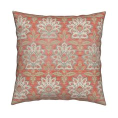 Catalan Throw Pillow featuring Carnations and Tulips Damask Ikat ~ Mint and Coral  by peacoquettedesigns