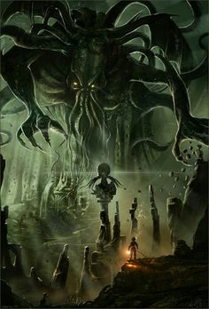 Cthulu by I cant find them my friend sent this to me and wont tell me were Necronomicon Lovecraft, Lovecraft Cthulhu, Hp Lovecraft, Cthulhu Art, Call Of Cthulhu, Arte Horror, Horror Art, Dark Fantasy Art, Fantasy Creatures
