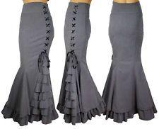 Dark Empress Skirt in Gray Fishtail Mermaid Ruffles Goth Gothic