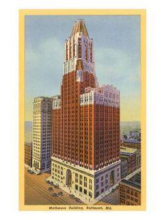 Art Print: Mathieson Building, Baltimore, Maryland Art Print : 24x18in Baltimore Skyline, Baltimore Maryland, Wick Buildings, Willis Tower, Vintage Prints, Empire State Building, Framed Artwork, Find Art, Art Prints