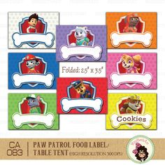 Digital Printable Paw Patrol Food Label. Table Tent. Frame - Instant Download