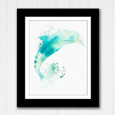 Dolphin Watercolor Beach House Art - Buy 2 get 3rd Free