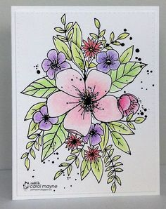 Hello, Welcome to Inkspirational Challenge .and look what we're 'springing' on you for the next two weeks. Sharpie Doodles, Sharpie Art, Watercolor Projects, Watercolor And Ink, Pretty Cards, Cute Cards, Doodle Patterns, Doodle Borders, Envelope Art