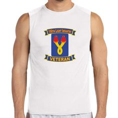 196th Light Infantry Brigade Veteran White Sleeveless Shirt now available! The Army Service is a 100% Polyester Gildan sleeveless shirt will keep you cool and dry all year long. Let your biceps breathe and show your military pride at the same time! Designed & Sublimated in the USA.