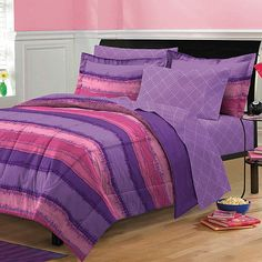 Add some retro flair to your bedroom with this Tie Dye Comforter Set. The ultra soft comforter and sham feature a tie dye pattern in an array of purple and pink hues in a horizontal stripe layout with a coordinating sheet set. Full Comforter Sets, Bed Sets, Bedding Sets, Sheets Bedding, Teen Girl Bedding, Girls Bedroom, Bedroom Ideas, Bedroom Decor, Purple Bedrooms