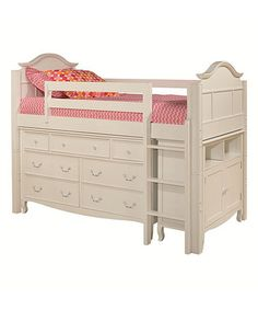 White Twin Low Loft Storage Bed, Dresser & Bookcase