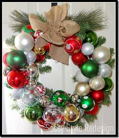 Ornament wreath how to using Crate & Barrel ornament knock offs