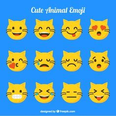 (Funny Emoji) free vector cat emoji set with funny facial Emoji Set, Cat Emoji, Funny Emoji, Funny Facial Expressions, Emoji Design, Vector Free, Pikachu, Cute Animals, Cats