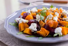 Roasted Beet, Sweet Potato and Goat Cheese Salad - CulinaryBeets Vegetarian Recipes, Cooking Recipes, Healthy Recipes, Feta, Goat Cheese Salad, Roasted Beets, Fresh Herbs, Sweet Potato, Salad Recipes