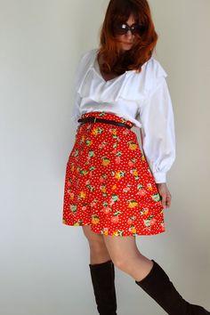 1960s Skirt Deep Tangerine Orange Polka Dot Skirt by gogovintage, $28.00
