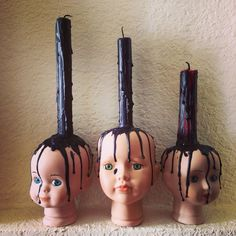 My babies! Baby heads, doll heads, candles - My babies! Halloween Prop, Casa Halloween, Scary Halloween Decorations, Halloween Candles, Halloween Home Decor, Outdoor Halloween, Haunted Halloween, Holidays Halloween, Scary Halloween Costumes