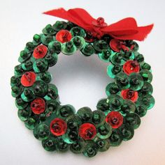 Christmas Wreath Pin Brooch Sequins Hand by BrightEyesTreasures, $5.99