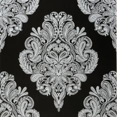 Cote Couture Wallpaper in Black and White by Laurence Llewelyn-Bowen for Graham
