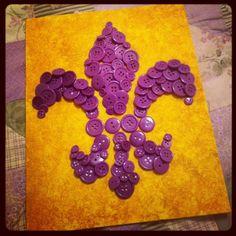 Fleur De Lis Button Canvas @Rebekah Cranford