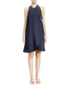 B2VJS Stella McCartney Buckled A-Line Wrap Dress, Navy