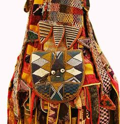 Africa | Details from an Egugun robe from the Yoruba people of southwestern Nigeria | 20th century | Textile and glass beads
