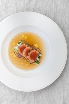 Tataki salmon with sesame crust and ginger glaze. #HuonSalmon