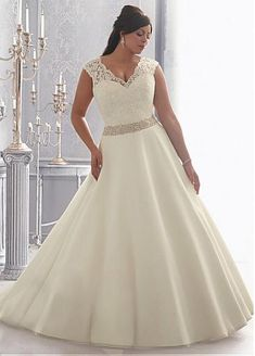 Glamorous Tulle V-neck Neckline Natural Waistline A-line Plus Size Wedding Dress With Lace Appliques & Embroidered Beadings