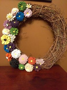 Hand Crafted Hand Painted Spring Flower Pine Cone Wreath