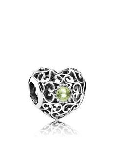 PANDORA Charm - Sterling Silver & Peridot August Signature Heart | Bloomingdale's