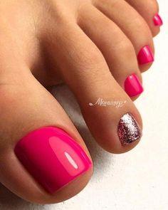 48 Adorable Easy Toe Nail Designs You Will Love Toller Nagellack mit rosa Zehen Gel Toe Nails, Pink Toe Nails, Simple Toe Nails, Painted Toe Nails, Pretty Toe Nails, Toe Nail Color, Summer Toe Nails, Cute Toe Nails, Feet Nails