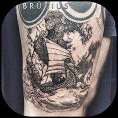 Amazing etching-style Viking boat; done by Brücius at Black & Blue Tattoo, SF