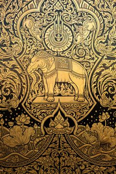 Stock image of 'Thai motifs' Elephant Pattern, Elephant Art, Thai Decor, Thai Pattern, Thai Design, Thailand Elephants, Thailand Art, Nashville, Elephant Illustration