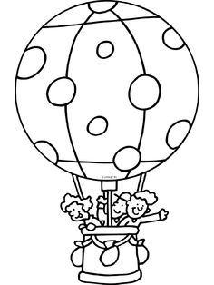 luchtballon kleurplaat schrijfpatronen vervoer