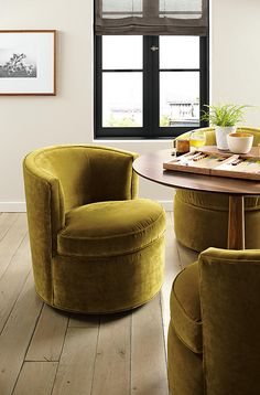 Otis Swivel Chair - Chairs - Living - Room & Board. In emerald green