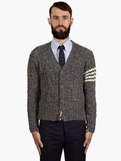 Thom Browne Men's Grey Cable-Knit Cardigan | oki-ni