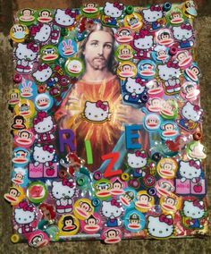 Jesus surrounded by hello kitty Ariel and pual frank.... this is the kid of thing my mother likes...weird art. Happy mothers day mom. (inspired by art on pinterest) -sophie