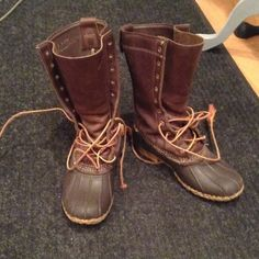 """Pre-Loved Brown Men's L.L.Bean Rubber Boot Stand about 11.5"""" off ground. In very good Pre-Loved condition, but need new shoe laces. Great for rain and snow. Approximately fits size 7 woman. These are not fur lined. L.L. Bean Shoes Winter & Rain Boots"""