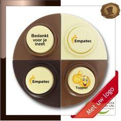 Choco puntjes  Bedankt voor je inzet. Lekkere chocolade voorzien van een logo #chocolade met logo # relatie geschenken  # promotie chocolade