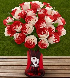 The FTD® University of Oklahoma® Sooners® Rose Bouquet, vase included ....I feel like if we got these for my mother in law, she would go into a coma over how awesome they are.