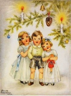 Vintage Hannes Petersen Charming Christmas Card
