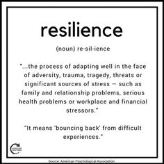 APA definition of resilience Resilience Tattoo, Resilience Quotes, Emotional Resilience, Detachment Quotes, Perseverance Quotes, Definition Of Resilience, Definition Of Motivation, What Is Resilience, Tattoo Ideas