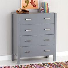 Masculine enough to last till they leave home. . .Uptown 4-Drawer Dresser (Grey)  | LandOfNod