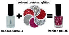 I'm going to make my own nail polish which is called Franken Polish. Glitties.com has the solvent resistant glitter and base needed to make your own personal color