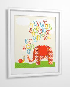 Nursery art, Kids art, Nursery wall art, baby nursery art, Elephant, Alphabet - 8x10 PRINTABLE. $4.00, via Etsy.