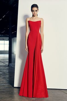Alex Perry  Alex - Red  Satin back strapless drape gown