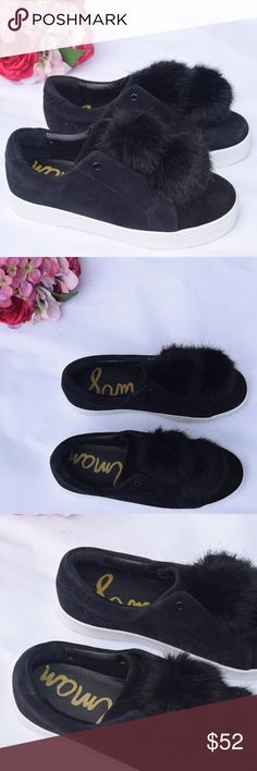Sam Edelman Leya Black Faux Fur Pom Sneakers Sam Edelman  Style: Leya Color: Black Elastic Slip On Rounded Toe Black Faux Fur Pom  Material: Kid Suede Leather  Synthetic Insoles Minor Signs of Wear including minor markings on sole and trim Sam Edelman Shoes Sneakers
