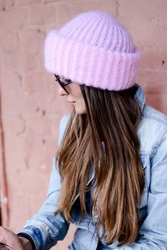 Pink Knit Hat Mohair knit hat Baby pink hat Mohair by ShopLaLune