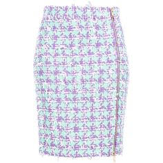 Boutique Moschino Knee Length Skirt ($380) ❤ liked on Polyvore featuring skirts, lilac, colorful skirts, multicolor skirt, zipper skirt, knee high skirts and multi color skirt