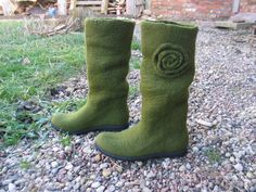 Handfelted boots DARK OLIVE by woolicity on Etsy, $250.00