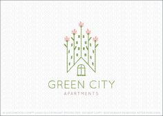 Logo for sale: Cute, modern and simple design of rows of flowers that are designed to create the imprecation of tall city builders or apartment buildings. Created within the white space is roof peek shape & window.